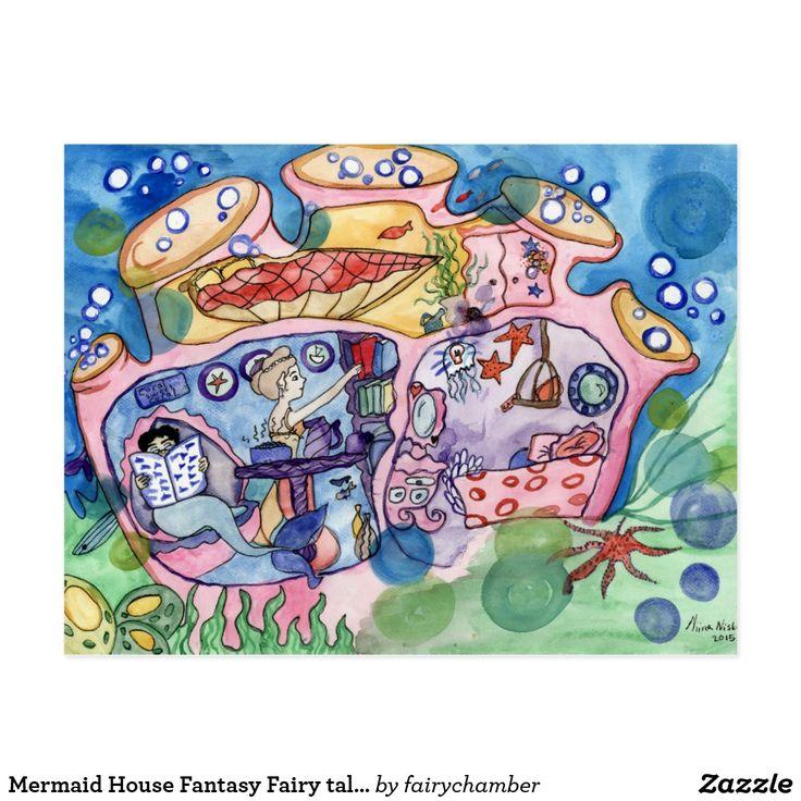 Mermaid House Fantasy Fairy tale Postcard