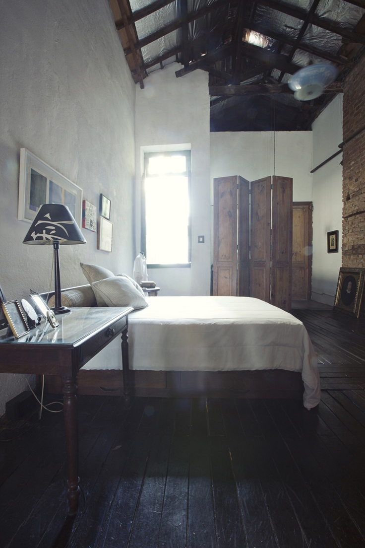 Rue Magazine (July/August 2011).  Design by Jorge Soares. Photographed by Woodnote Photography.: Dreams Bedrooms, Rustic Bedrooms, Wood Lights, Simple Bedrooms, Dark Wood Floors, Rue Magazines, High Ceilings, Loft Spaces, Modern Bedrooms