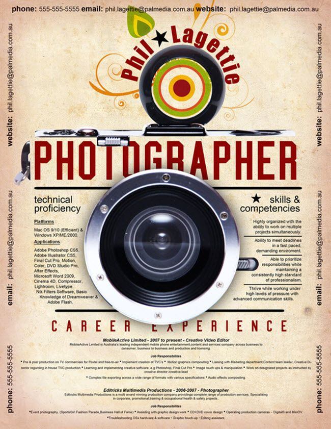 7 best Creative Resumes images on Pinterest Creative curriculum - photography resume samples