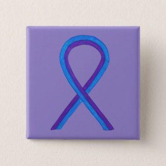 Blue and Purple Ribbon Awareness Custom Pin - The purple and blue awareness ribbon means support for pediatric stroke and rheumatoid arthritis awareness.
