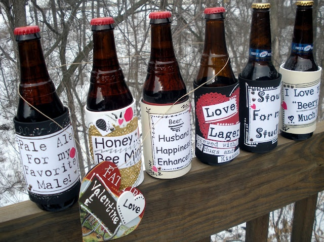 Happy Valentines day for my hubby.Valentine'S Day, Valentine Day Gift, Bottle Labels, Homemade Valentine, Gift Ideas, Wine Labels, Beer Bottle, Beer Labels, Valentine Gift