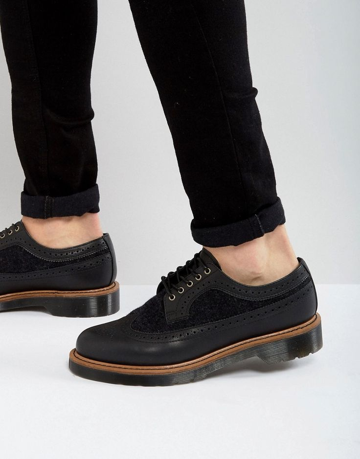 Dr Martens 3989 Wool & Leather Brogue Shoes - Black