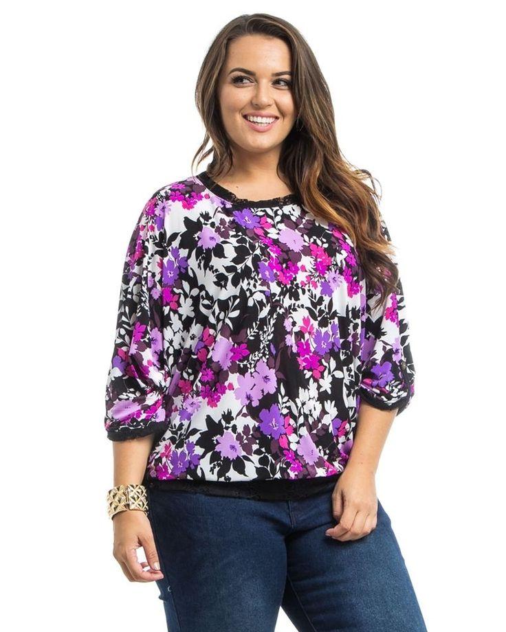 Women Top PLUS SIZE 1X Takuni Floral Scoop Neck Dolman Tab Sleeves Lace Trim  #Takuni #KnitTop #Career