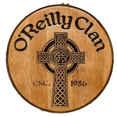 Celtic Cross Personalized Whiskey Barrel Head -    Personalized, hand carved, and hand painted Celtic Cross whiskey barrel head adds the perfect touch to your Irish Pub inspired decor. Solid wood construction is framed with a metal whiskey barrel ring. We will personalize the barrel head with your family name and year. Wood is finished with a protective coating promising years of long lasting beauty. Makes a great addition to your home bar, pub, or game room.