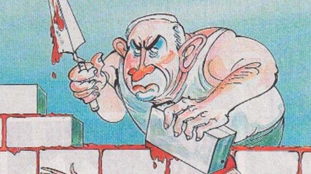 Premierminister Benjamin Netanyahu, som afbildet med en London Times karikatur offentliggjort søndag (Foto: The Times)