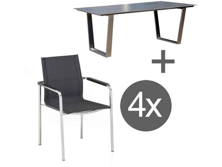 Kettler Feel Ferrara Gartenmobelset 5tlg Tisch 180x100 Cm Grau