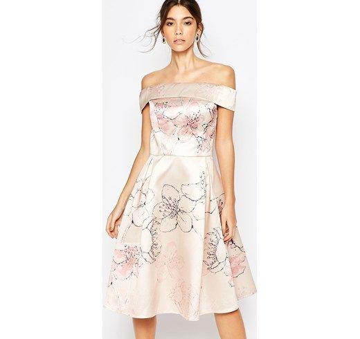 Chi Chi London - Vestito longuette con spalle scoperte e stampa con fiori di ciliegio - Color carne a fiori colorati  damigella cerimonia