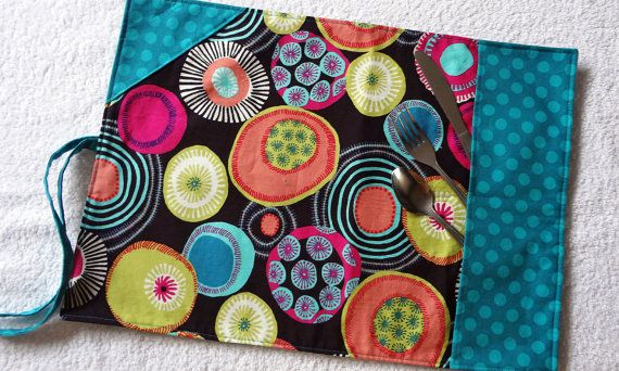 Travel Placemat Roll Ustensils section Lunch by mylittlepoppyseed, $18.00  Cloth placemat with an enclosed section for ustensils and napkin. Great for office, school, traveling or picnic!   Visit and like my Facebook page: https://www.facebook.com/pages/MyLittlePoppySeed/111614175583229?fref=ts More handmade creations in my Etsy shop: http://www.etsy.com/shop/mylittlepoppyseed
