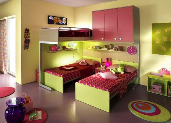 Kinderzimmer ideen für zwei  Kinderzimmer gestalten - Tolles Kinderzimmer für zwei Mädchen ...
