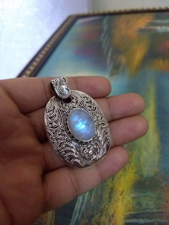 Moonstone Pendant Pure 925 Sterling Silver Pendant Large