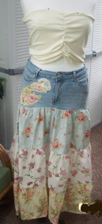What to do with old jeans? Going Green With Jeans...How to Recycle Your Jeans into Sewing Projects  How to make a Denim Broom Skirt