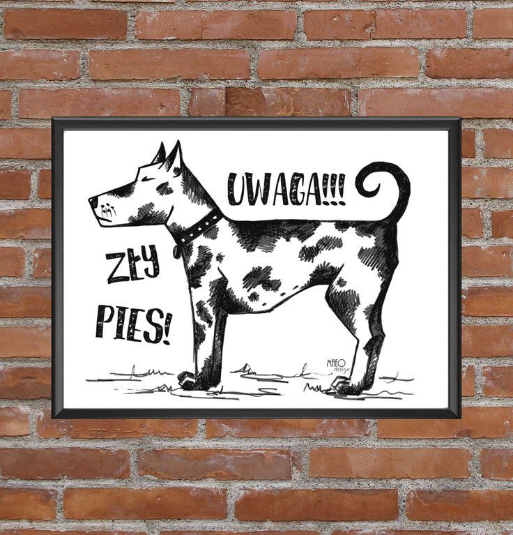 NOWY plakat Zły Pies dostępny już na www.mafodesign-sklep.pl w różnych rozmiarach. #poster #blackandwhite #design #baddog #plakat #złypies #czarnobiały