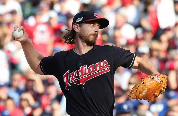 Cleveland Indians Josh Tomlin pitching against the Toronto Blue Jays, first inning, game 2 of the ALCS at Progressive Field, in Cleveland, Ohio on Oct. 15, 2016. Tomlin got the 2-1 victory against the Blue Jays game 2 of the ALCS    (Chuck Crow/The Plain Dealer)