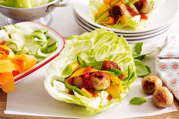 For a quick weeknight meal try these 30 minute Thai meatballs drizzled with sweet chilli sauce and served in fresh lettuce wraps.