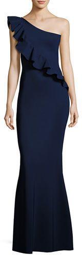 Chiara Boni La Petite Robe Custom Collection: Marine One-Shoulder Ruffle Gown #aff