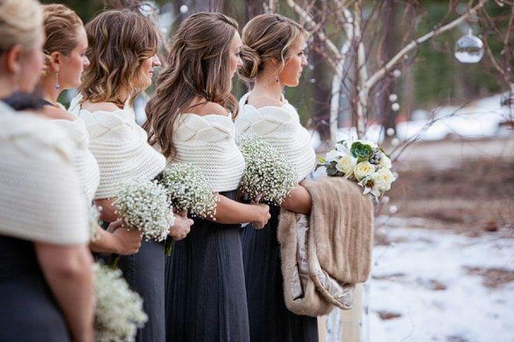 Stunning winter bridesmaids in knitted shawls and fur for the bride