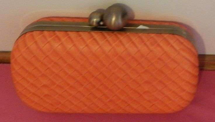 Hard Box Clutch with Double Brass Clasp - 2 Colour Avail - BNWT - Pink & Orange