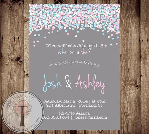 Confetti Gender Reveal Party Invitation, Gender Reveal Invite, gender reveal, baby reveal on Etsy, $12.99