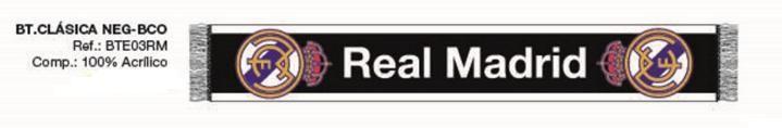 BUFANDA REAL MADRID NEGRA  Este artículo lo encontrará en nuestra tienda on line de complementos www.worldmagic.es info@worldmagic.es 951381126 Para lo que necesites a su disposición