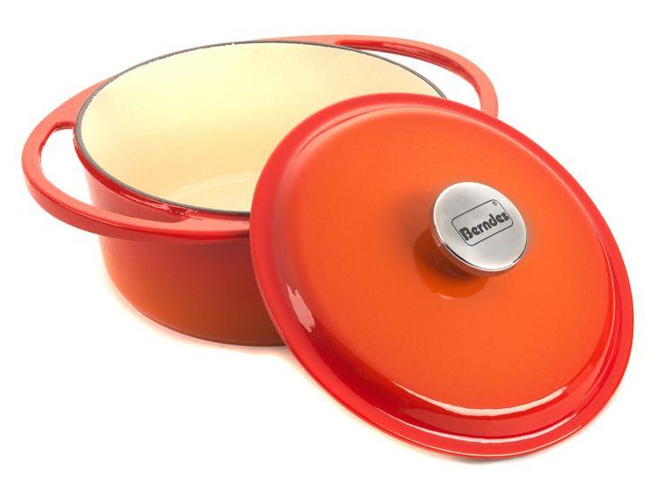 Berndes Round Cast Iron Casserole Dish 24cm – Orange