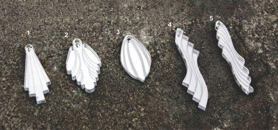 Silver mirror lasercut pendants on silver chain by Deccoangel