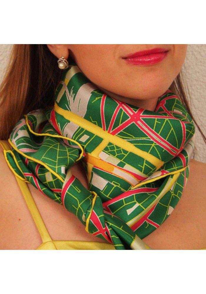 "Designer Silk Scarf - map of Paris ""Green"". Premium quality silk, limited edition, swiss brand"
