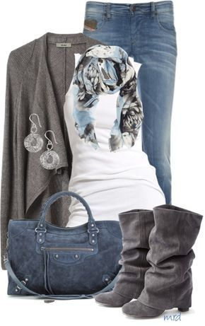 "UGH I love everything about this! I'm all about neutral ""earthy"" colors. I love the hint of blue, and those boots!"