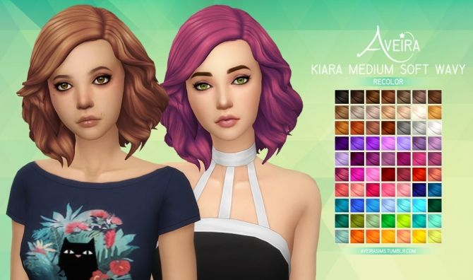 Kiara Medium Soft Wavy Recolor at Aveira Sims 4 via Sims 4 Updates