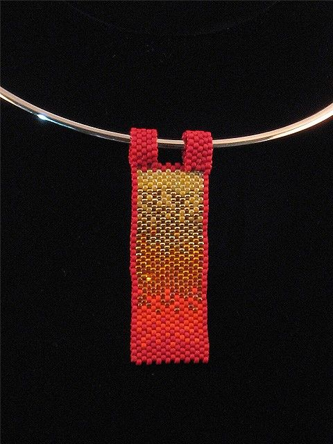 Fire Element Beaded Pendant by Ivydee on Etsy