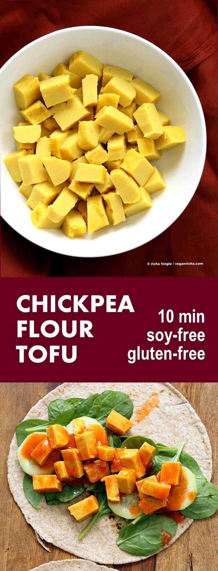 Chickpea flour Tofu. 10 min Non soy tofu made with Chickpea flour or Besan / gram flour. Easy Burmese tofu. #Vegan #Glutenfree #Soyfree #Nutfree #10minute #Recipe | VeganRicha.com