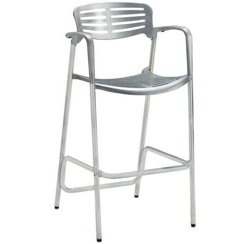 premier hospitality aero aluminum bar stool with arms shiny finish premier