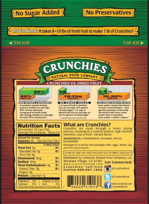 Amazon.com: Crunchies Freeze-Dried Fruit Snack, Mixed Fruit, 1.2-Ounce Pouches (Pack of 6)