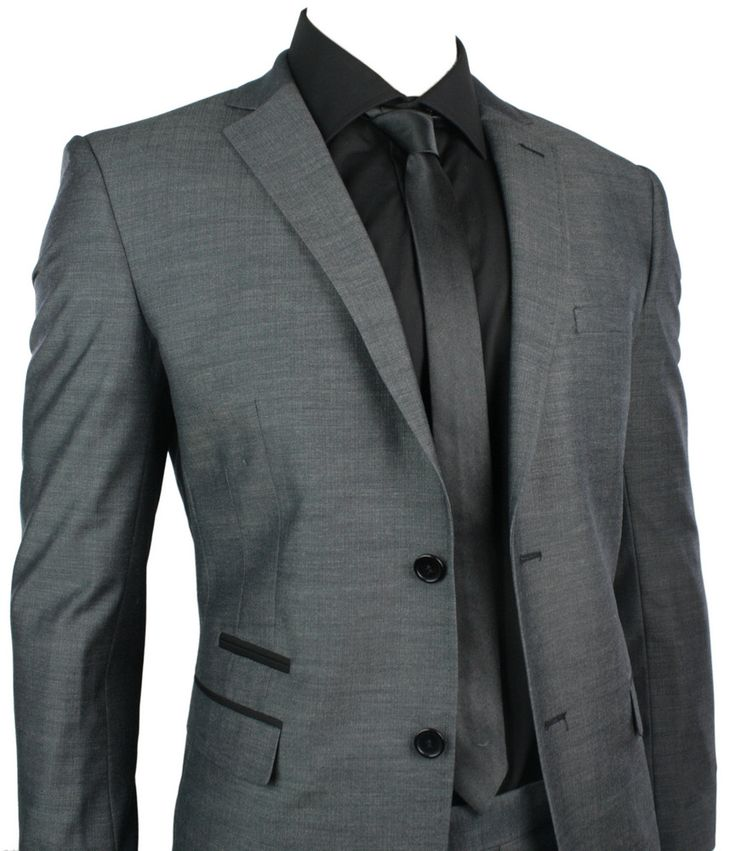 Mens Fitted Suit Charcoal Grey Black Trim Blazer & Trouser