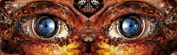 SolydK KDE Dual Display Desktop Jan. 20th.  Been on a Steampunk path lately. As find the Steampunk movement interesting and compelling alternate world. Wallpaper - www.allwalls.net/eyes-steampunk-gears-clockwork-mechanical/ Copied one and made a copy flipped for right monitor. Theme Style - Oxygen Icons- Iceglass 4.10.1 icon theme for KDE4 Workspace Window Decorations - Oxygen Desktop Theme - Steampunk (Available thru the Get New Themes. Firefox persona - darkblackwood . .