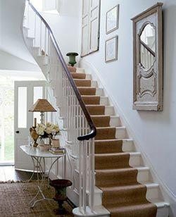 stair runner landing white stairs -