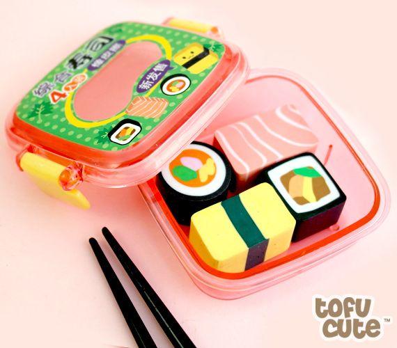 Buy Set of 4 Kawaii Sushi Bento Box Erasers at Tofu Cute