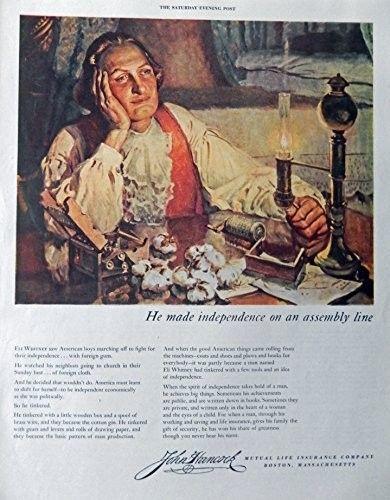 John Hancock Insurance  40 s Vintage Print Ad  Color Illustration  Eli Whitney  Original  Art