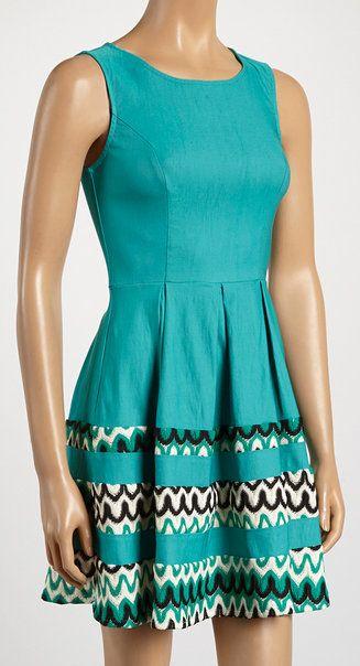 Teal & Black Box-Pleat A-Line Dress