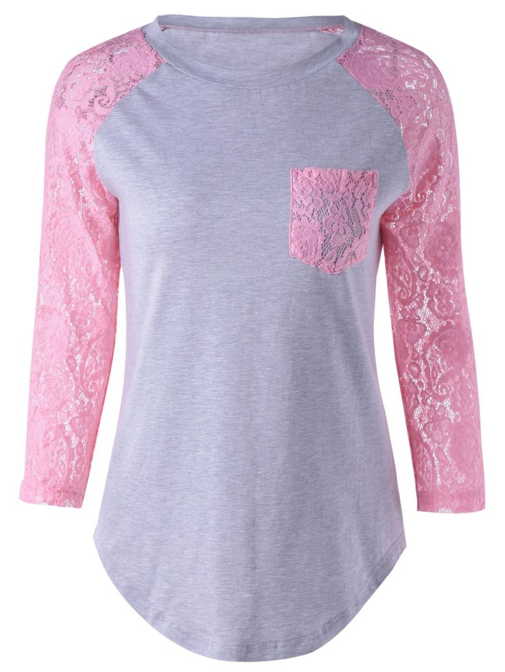 Single Pocket Lace Patchwork T-Shirt