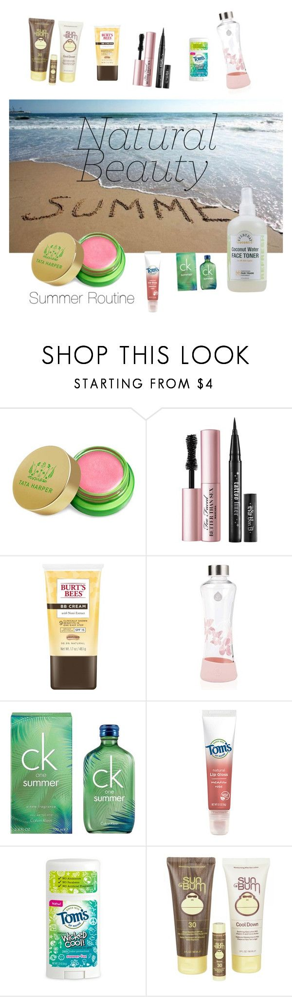 """""""Untitled #398"""" by sftorchwood ❤ liked on Polyvore featuring beauty, Tata Harper, Too Faced Cosmetics, Burt's Bees, Equa, Calvin Klein, Tom's of Maine and Sun Bum"""