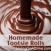 "This Homemade Tootsie Rolls recipe is so easy to make and uses only 4 ingredients and they're a fun project when the kids are home. The kids will love rolling them out and shaping them! They only take 5 minutes to make...well depending on how much ""help"" you have. Click here to get this yummy #recipe http://www.livingonadime.com/homemade-tootsie-rolls-4-ingredients/"