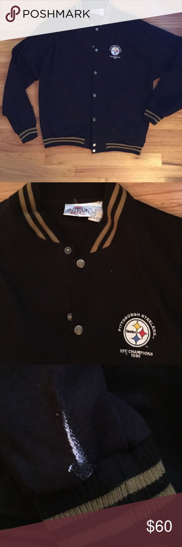 Vintage 1995 Super Bowl XXX Steeler Jacket Purchased at Super Bowl XXX. Men's size XL. 100% cotton twill. Brand is Antigua Sport.  What appears to be a paint smudge on right sleeve (pictured). Otherwise this is in great condition. Jackets & Coats Bomber & Varsity