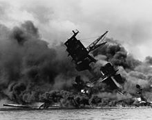 December 7th 1941 - USS Arizona burned for two days after being hit by a Japanese bomb in the attack on Pearl Harbor.