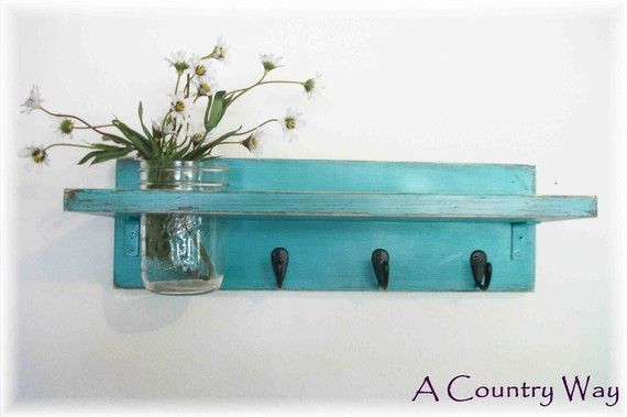 Distressed Turquoise Shelf with Mason Jar | Rustic Wall Decor