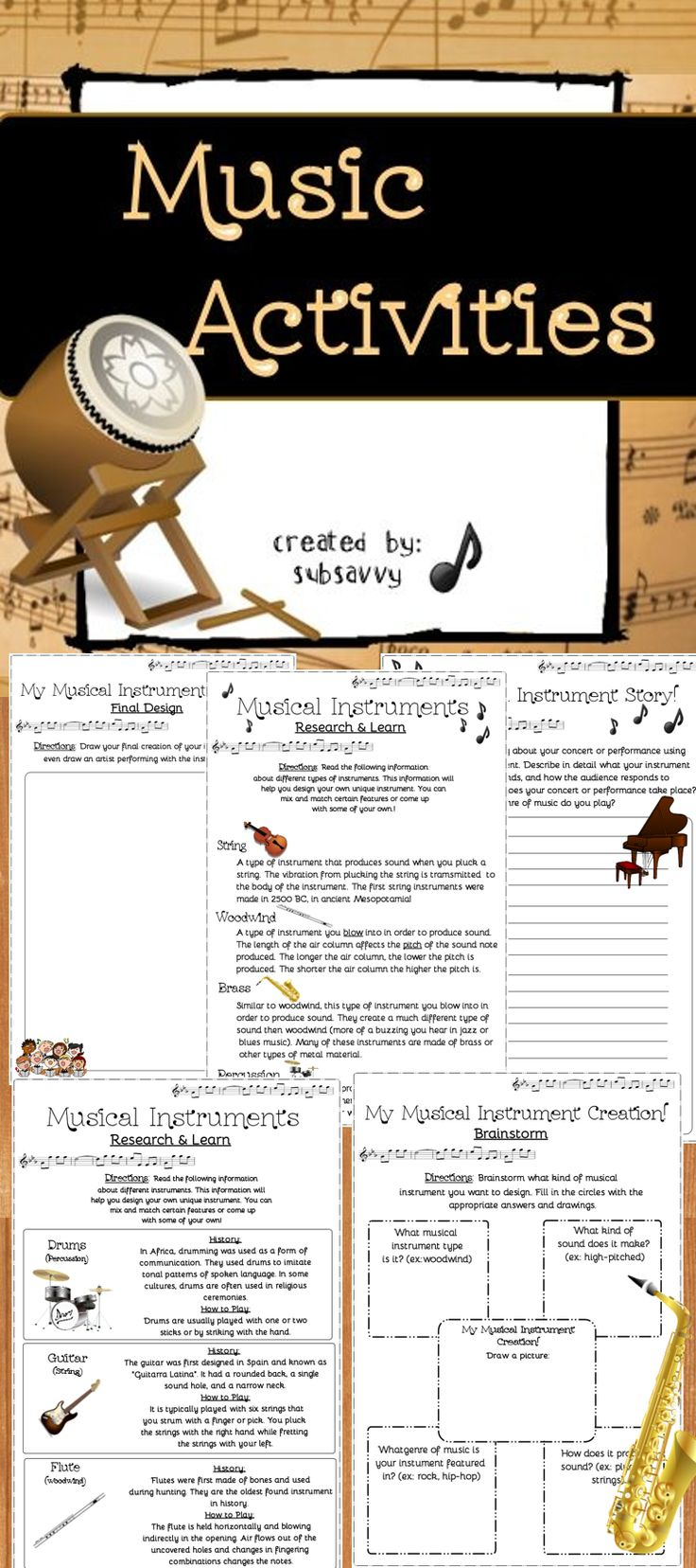 Create Your Own Musical Instrument! Works well with any music, rhythm, or instrumental unit. Also great for substitute teachers to use or for Fun Fridays!