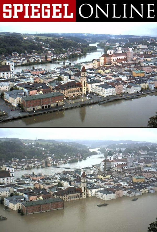 Hochwasser in Passau / Passau - normal and flooded (June 3, 2013)