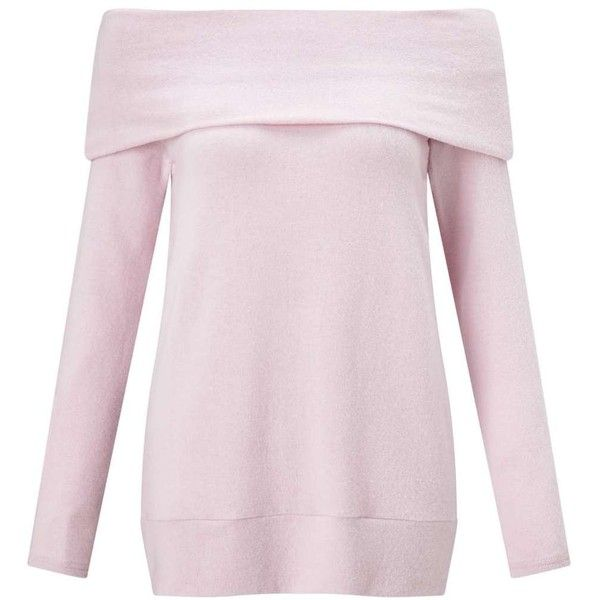 Miss Selfridge Lilac Hacci Bardot Top ($55) ❤ liked on Polyvore featuring tops, lilac, longline tops, pink top, long sleeve tops, lilac top and miss selfridge