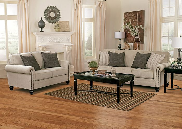 "Milari Linen Sofa & Loveseat | The beauty of vintage casual style comes to life with the subtle rolled arms adorned with decorative nail head accent trim along with the rich country look of light upholstery fabric making the ""Milari-Linen"" upholstery collection a warm inviting addition to any living area. [ GalaxyFurnitureChicago.com ]"