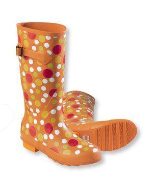Polka dot orange wellies! Want!
