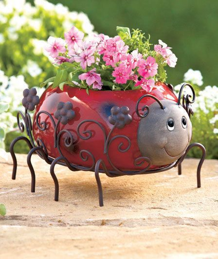 Ladybug Planter Garden Statue Yard Outdoor Decor